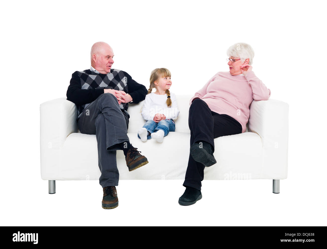 Girl with her grandparents - Stock Image