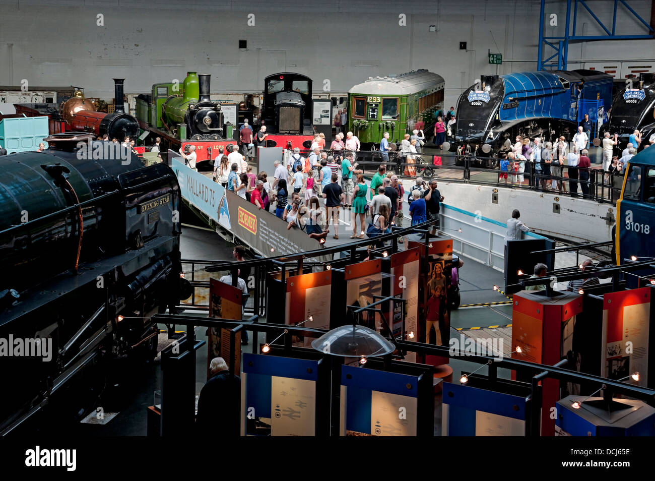 The Great Gathering. Six A4 Pacific steam locomotives National Railway Museum York North Yorkshire England UK United - Stock Image