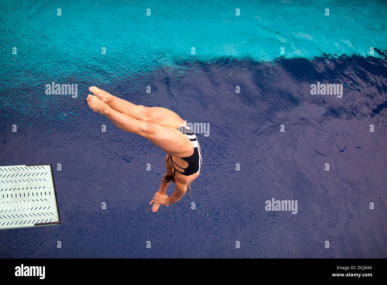 high diver jumping into the water - Stock Image