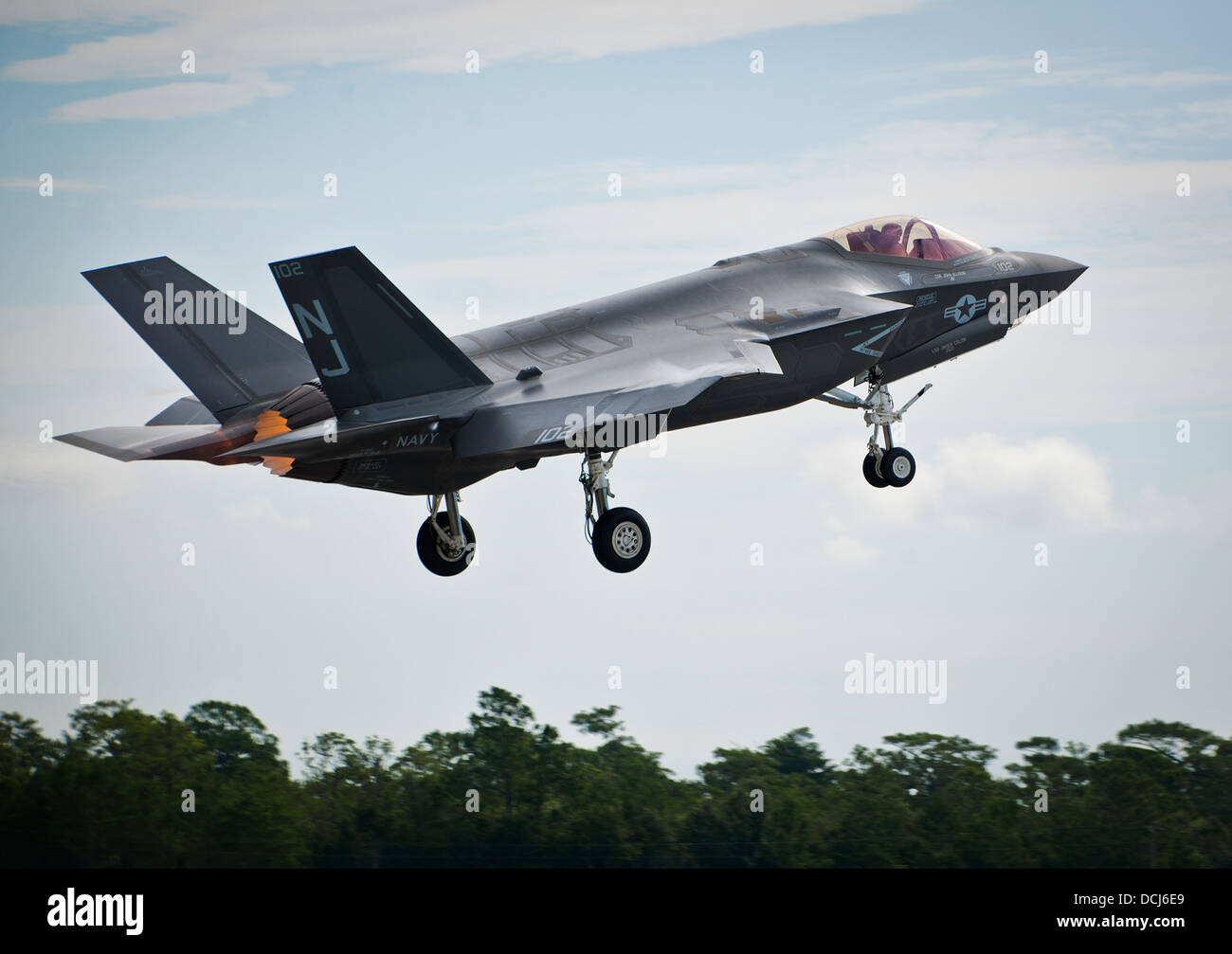 The first F-35C Lightning II sortie takes off from the U.S. Navy F-35 Strike Fighter Squadron VFA 101 at Eglin Air - Stock Image