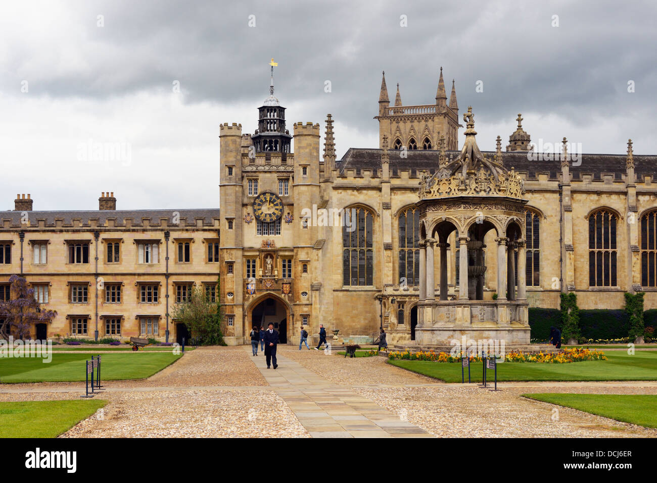 The Clock Tower and Great Court. Triniry College, University of Cambridge, Cambridgeshire, England, United Kingdom, - Stock Image