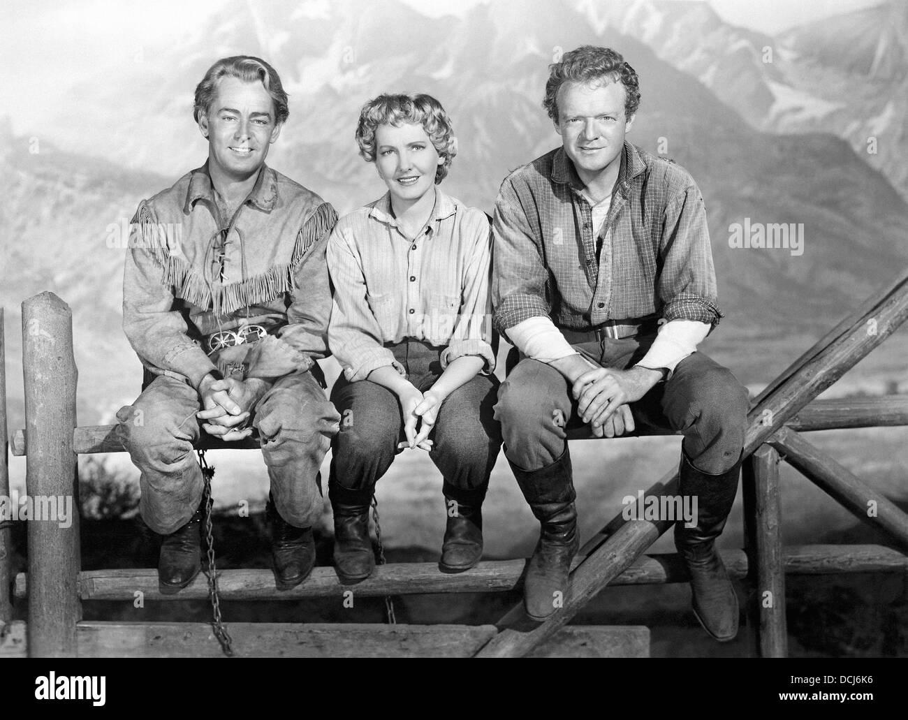 SHANE - Alan Ladd, Jean Arthur, Van Heflin - Directed by George Stevens - Paramount, 1953. - Stock Image