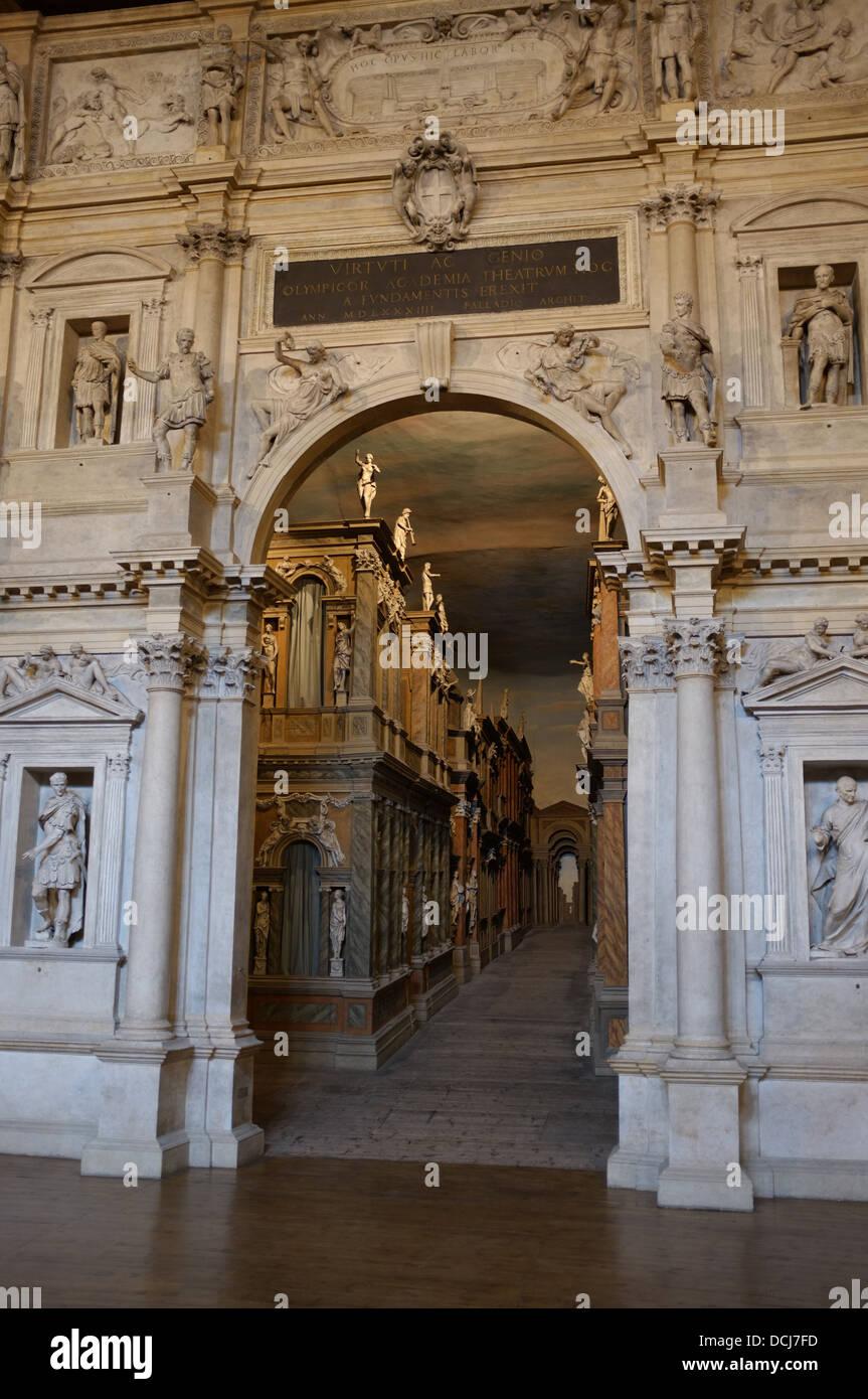 Palladio's Teatro Olimpico, Vicenza, Italy - Stock Image