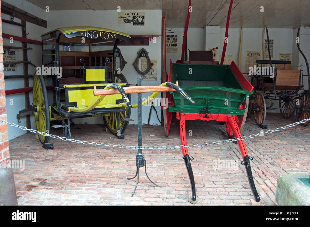 Edwardian/Victorian carriages inside garage at the North of England Open Air Museum, Beamish, Durham County, England, - Stock Image