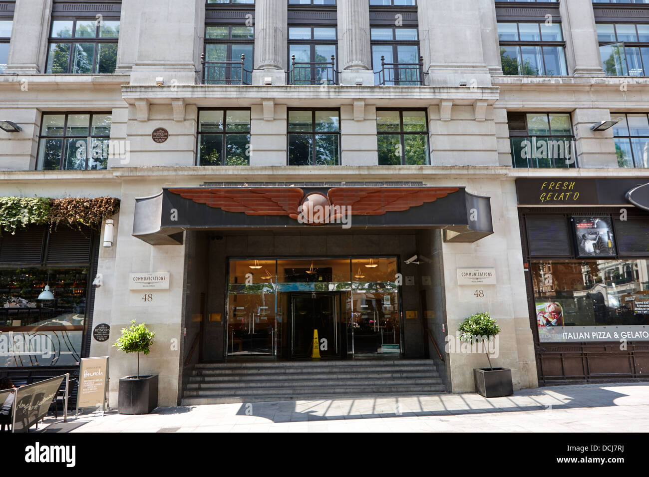 the entrance to the communications building leicester square London England UK - Stock Image