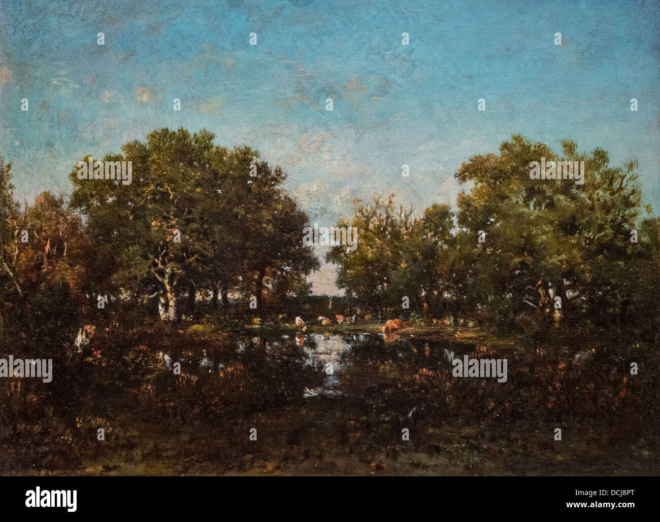 19th century  -  Landscape - Théodore Rousseau (1860) - Metropolitan Museum of Art - New York - Oil on canvas - Stock Image