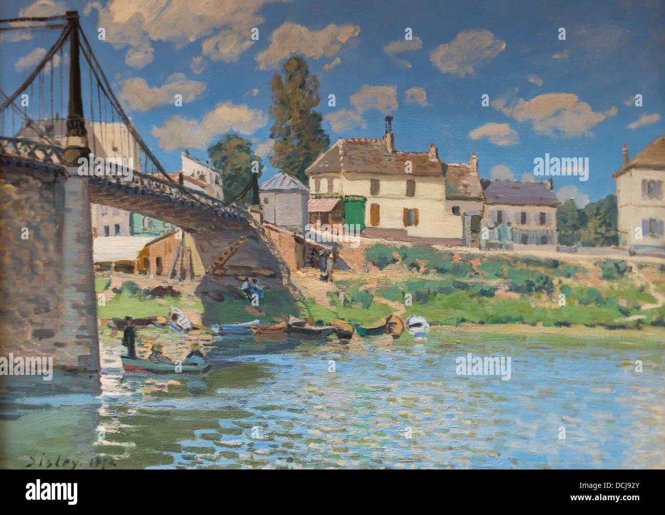 19th century  -  The Bridge at Villeneuve-la-Garenne - Alfred Sisley (1872) - Oil on canvas - Stock Image