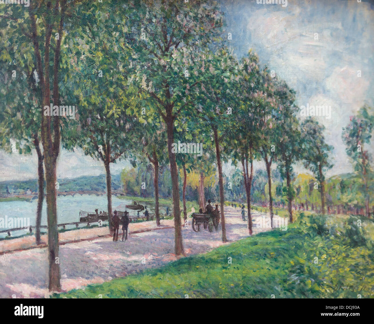 19th century  -  Chestnut Trees Alley - Alfred Sisley (1878) - Metropolitan Museum of Art - New York - Oil on Canvas - Stock Image