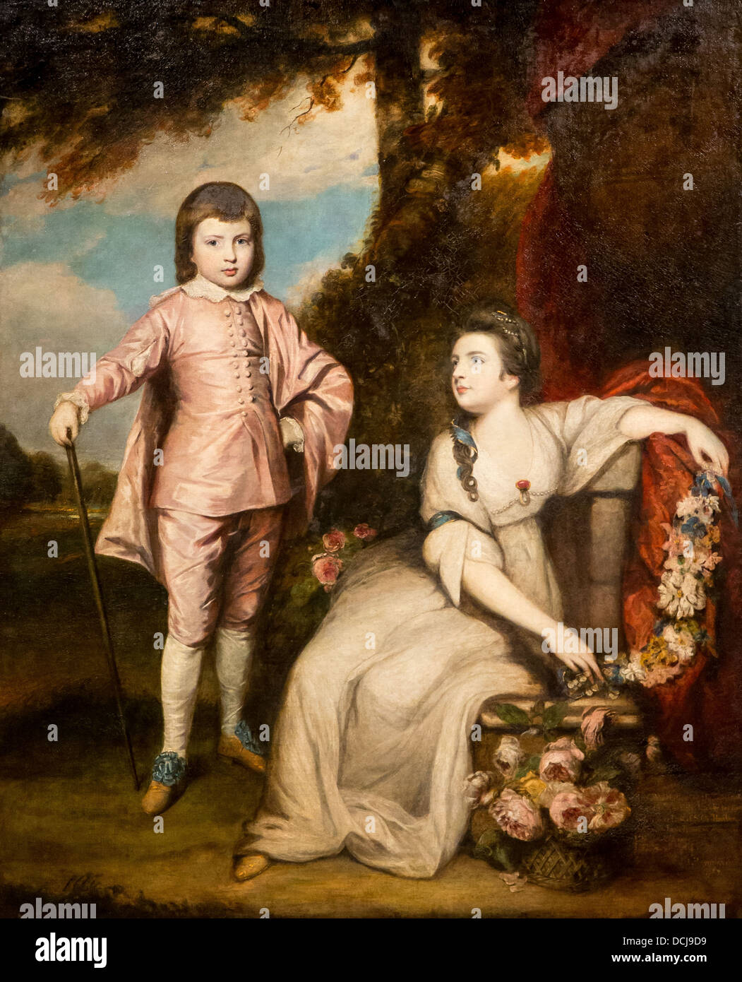 18th century  -  George Capel, Viscount Malden, and Lady Elizabeth Capel  - Sir Joshua Reynolds (1768) Oil on canvas - Stock Image