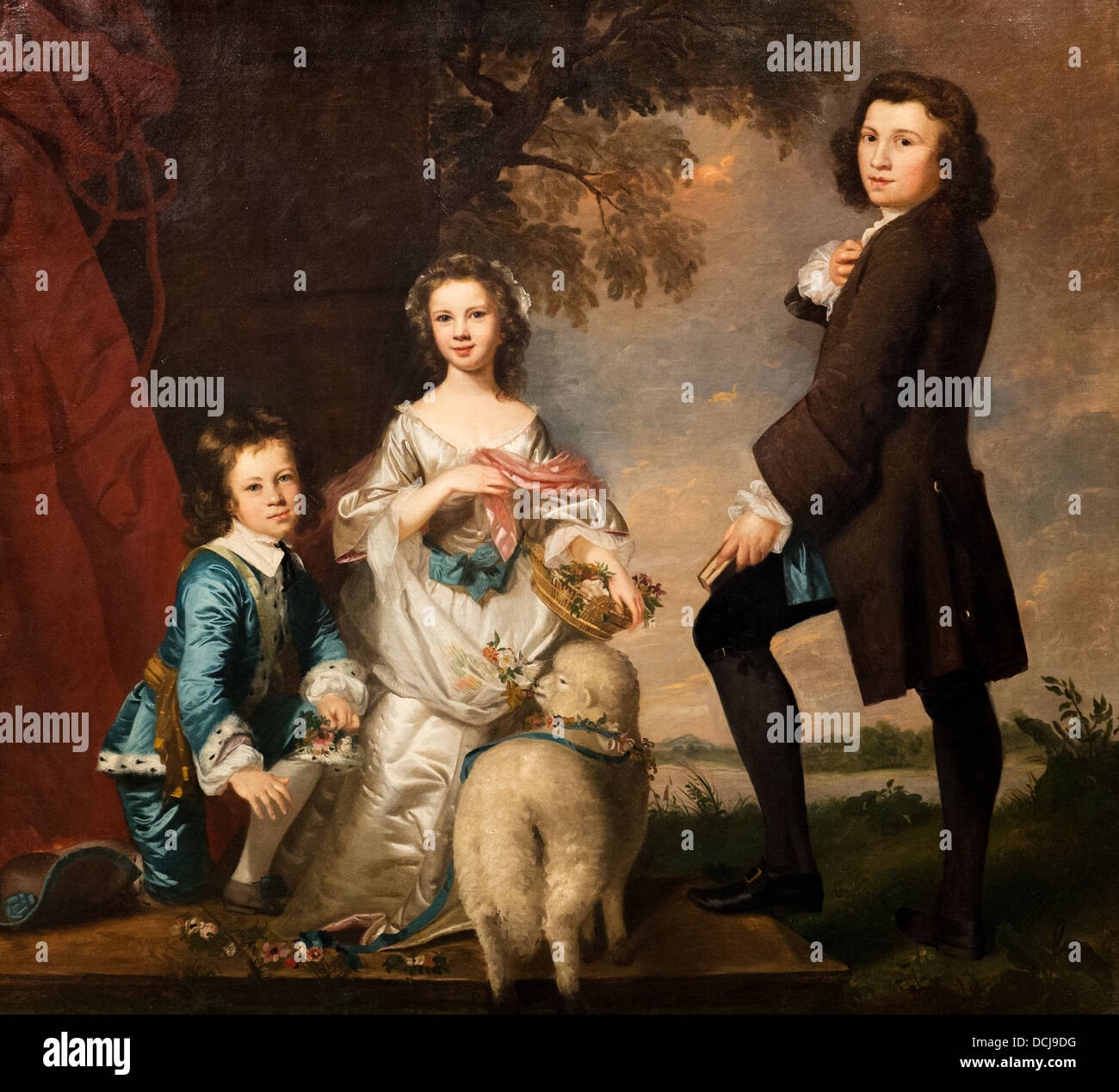 18th century  -  Thomas and Martha Neate with their Tutor, Thomas Needham - Sir Joshua Reynolds (1748) Oil on canvas - Stock Image