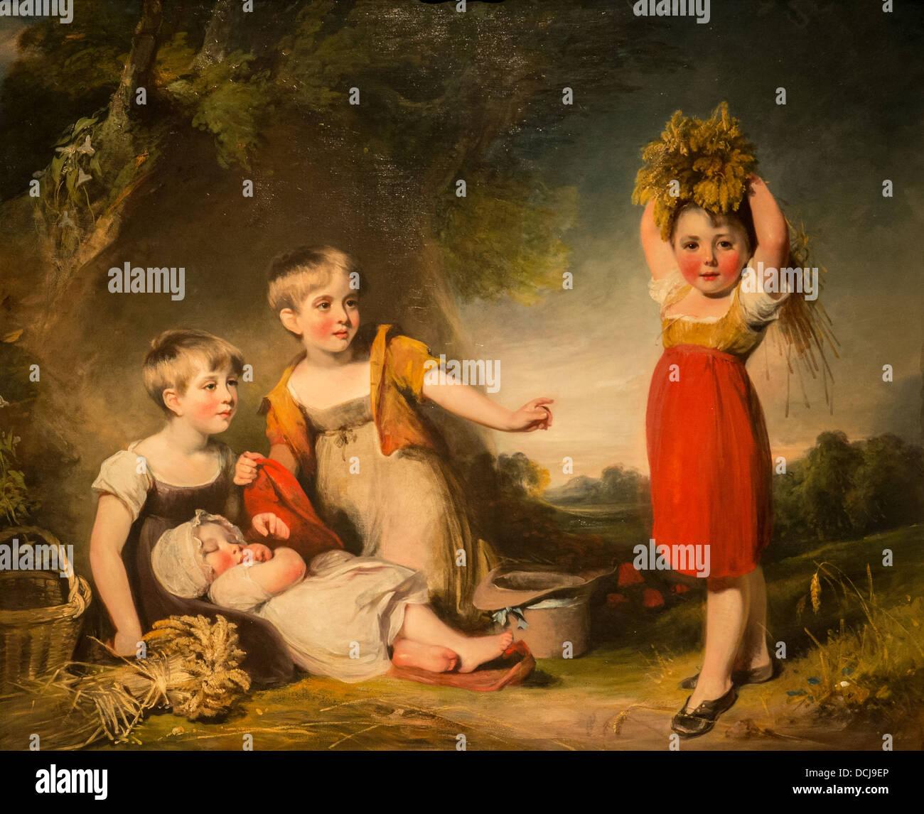 19th century  -  The Grandchildren of Sir William Heathcote, 3rd Baronet - William Owen (1801) - Oil on canvas - Stock Image