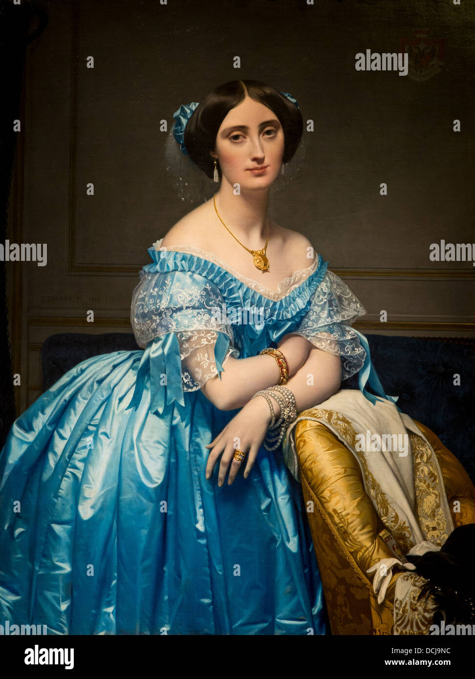 19th century  -  Princesse of Broglie - Jean-Auguste-Dominique Ingres (1851) Oil on canvas - Stock Image
