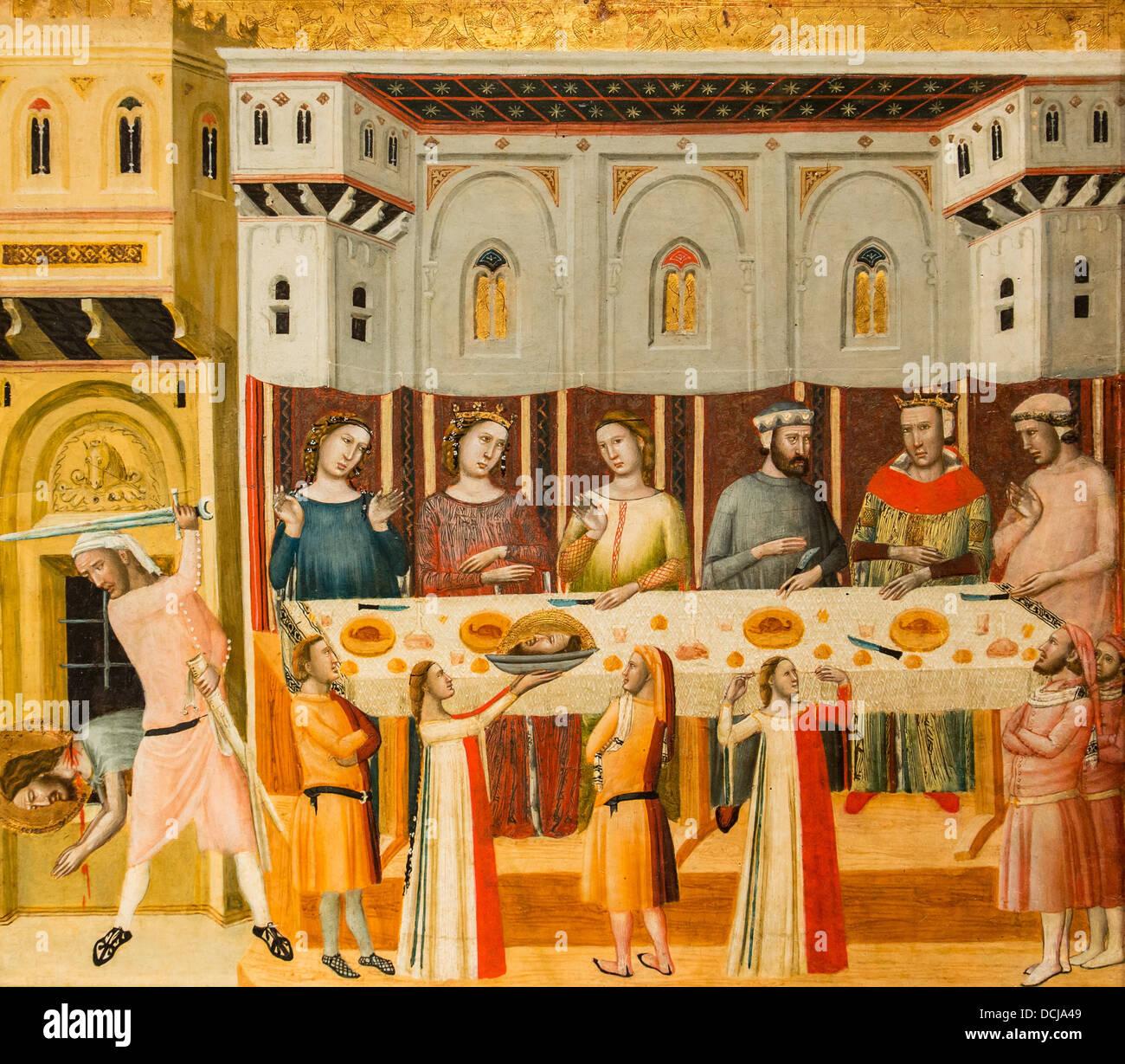 The Feast of Herod and the Beheading of the Baptist - John Baptist Master (Italia) Tempera on wood - Stock Image