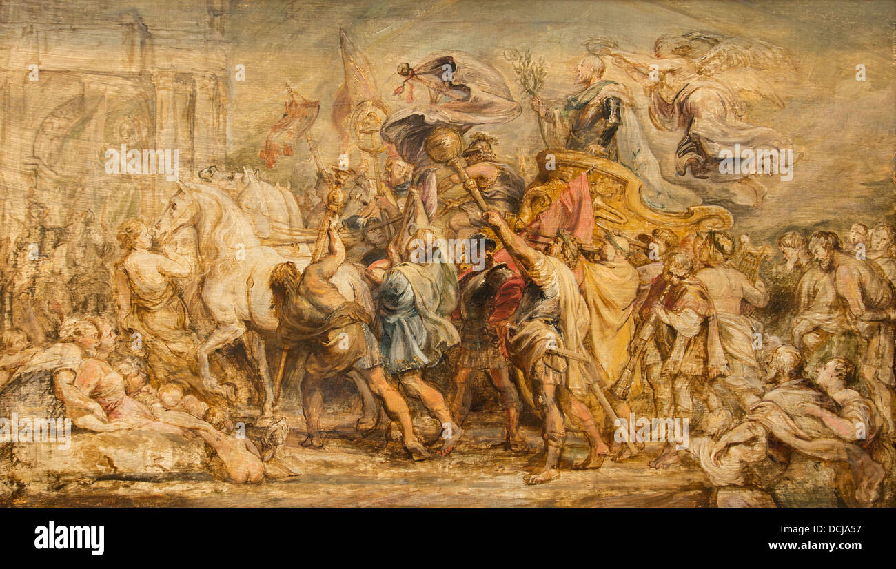 17th century  -  The Triumph of Henry IV - Pierre Paul Rubens (1630) - Metropolitan Museum of Art - New York Oil - Stock Image