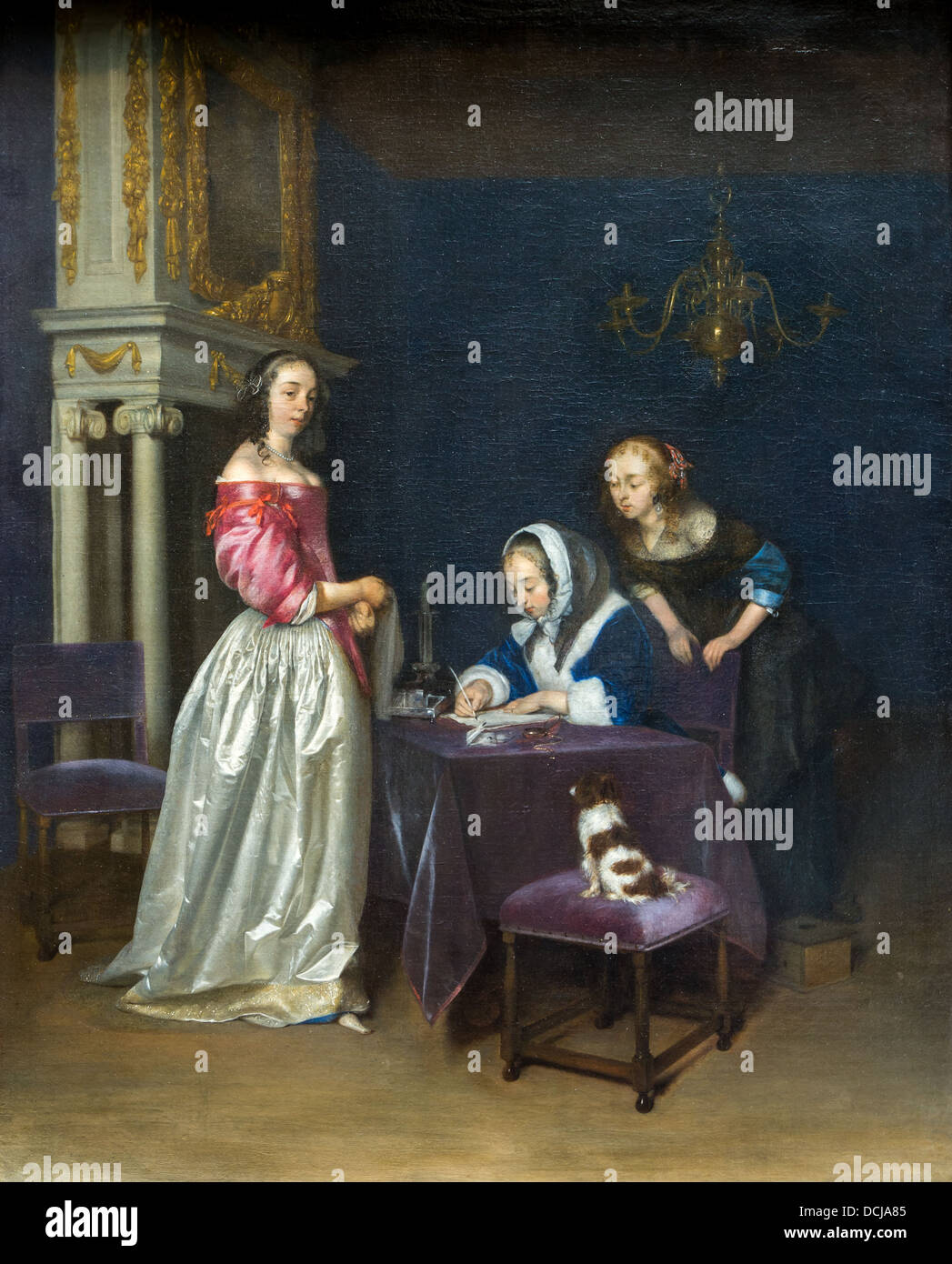 17th century  -  Curiosity - Gerard ter Borch (1660) - Metropolitan Museum of Art - New York Oil on canvas - Stock Image