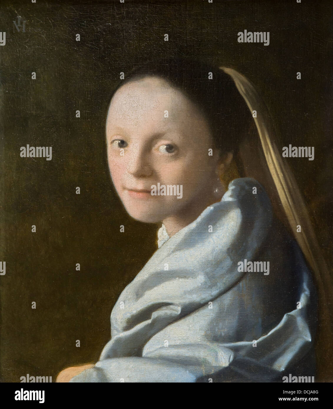 17th century  -  Study of a Young Woman - Johannes Vermeer (1665) - Metropolitan Museum of Art - New York Oil on - Stock Image