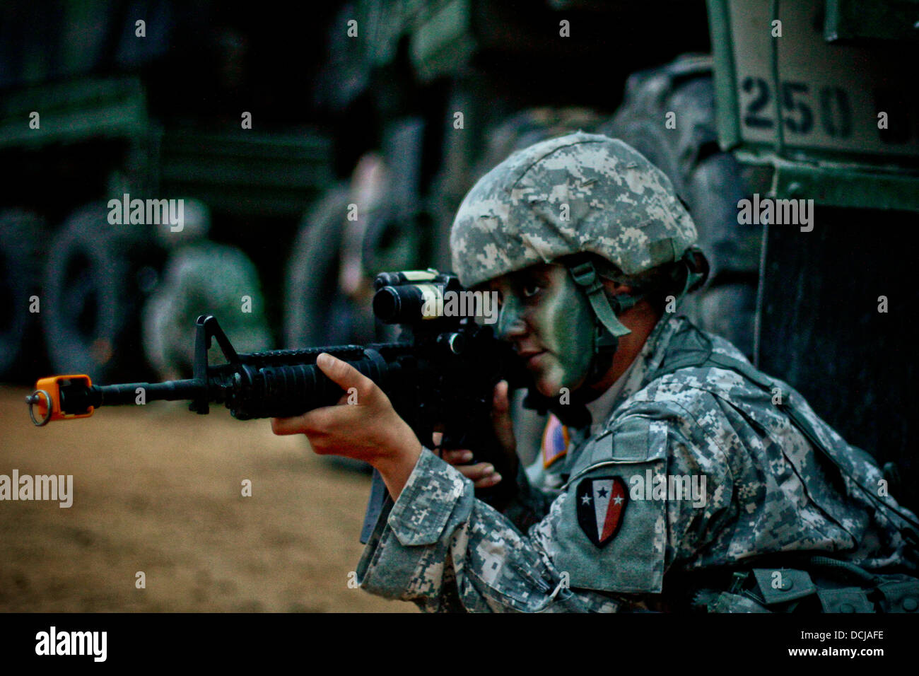 U.S. Army Spc. Nancy Reid from the New Jersey Army National Guard's 250th Brigade Support Battalion, 50th Infantry - Stock Image