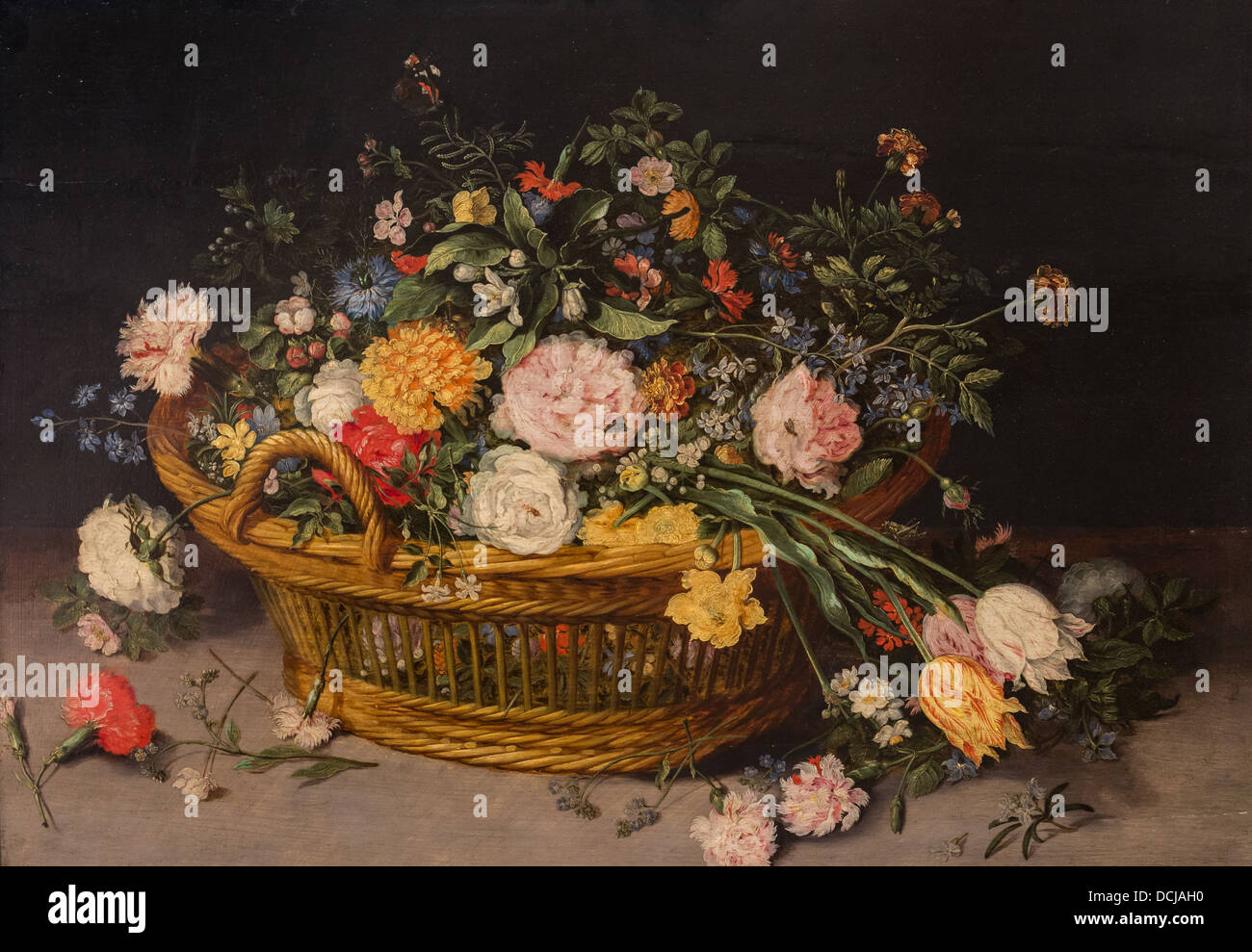 17th century  -  A Basket of Flowers - Jan Brueghel the Younger (1620) - Metropolitan Museum of Art - New York Oil - Stock Image