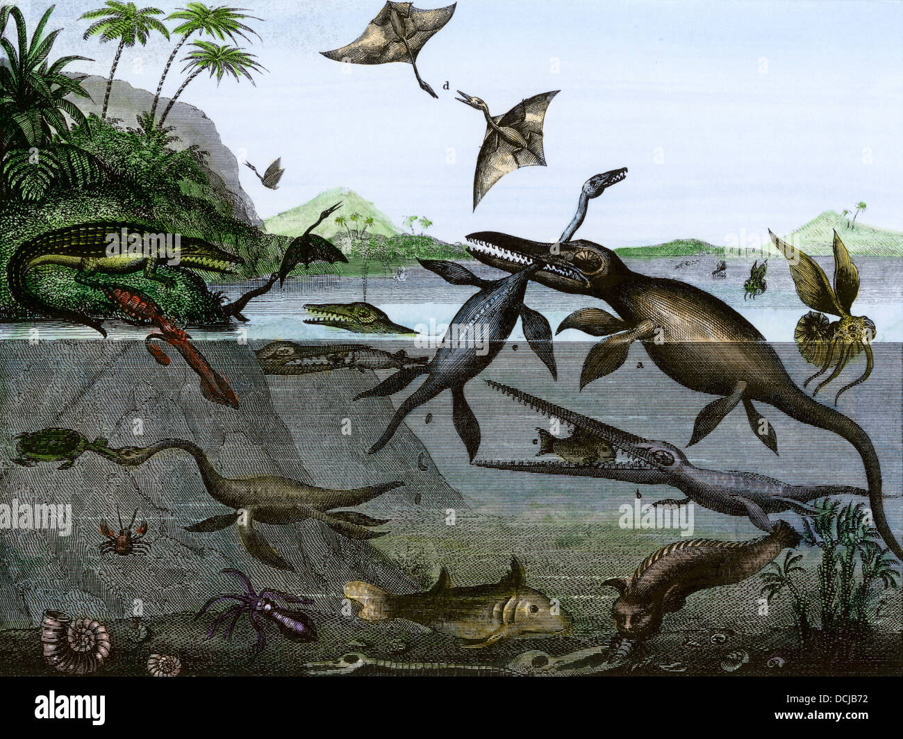 Dinosaurs of the sea, land, and air during the Age of Reptiles, a 19th-century depiction. Hand-colored engraving - Stock Image