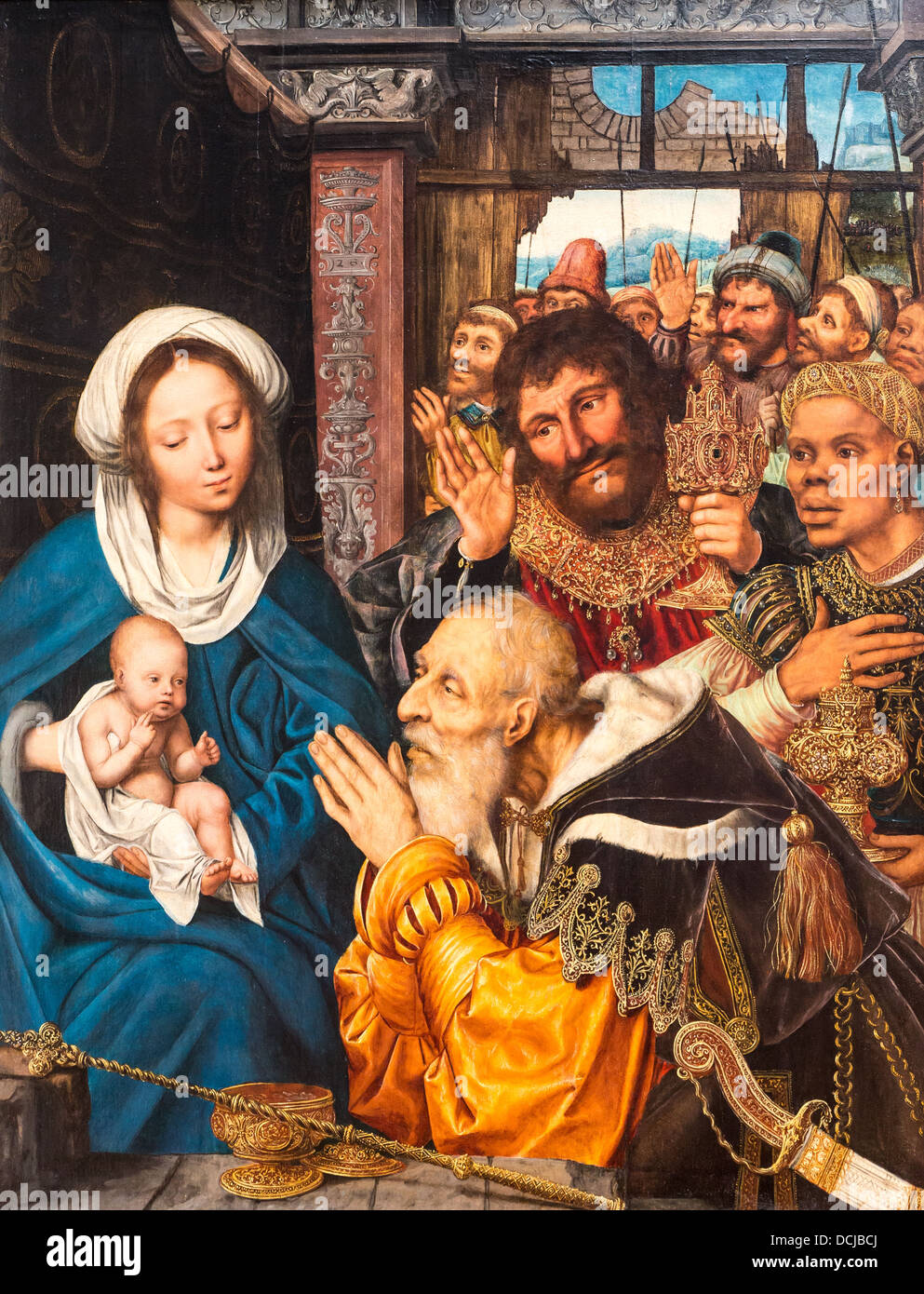 16th century  -  Adoration of the Magi - Quentin Metsys (1526) - Metropolitan Museum of Art - New York Oil on wood - Stock Image