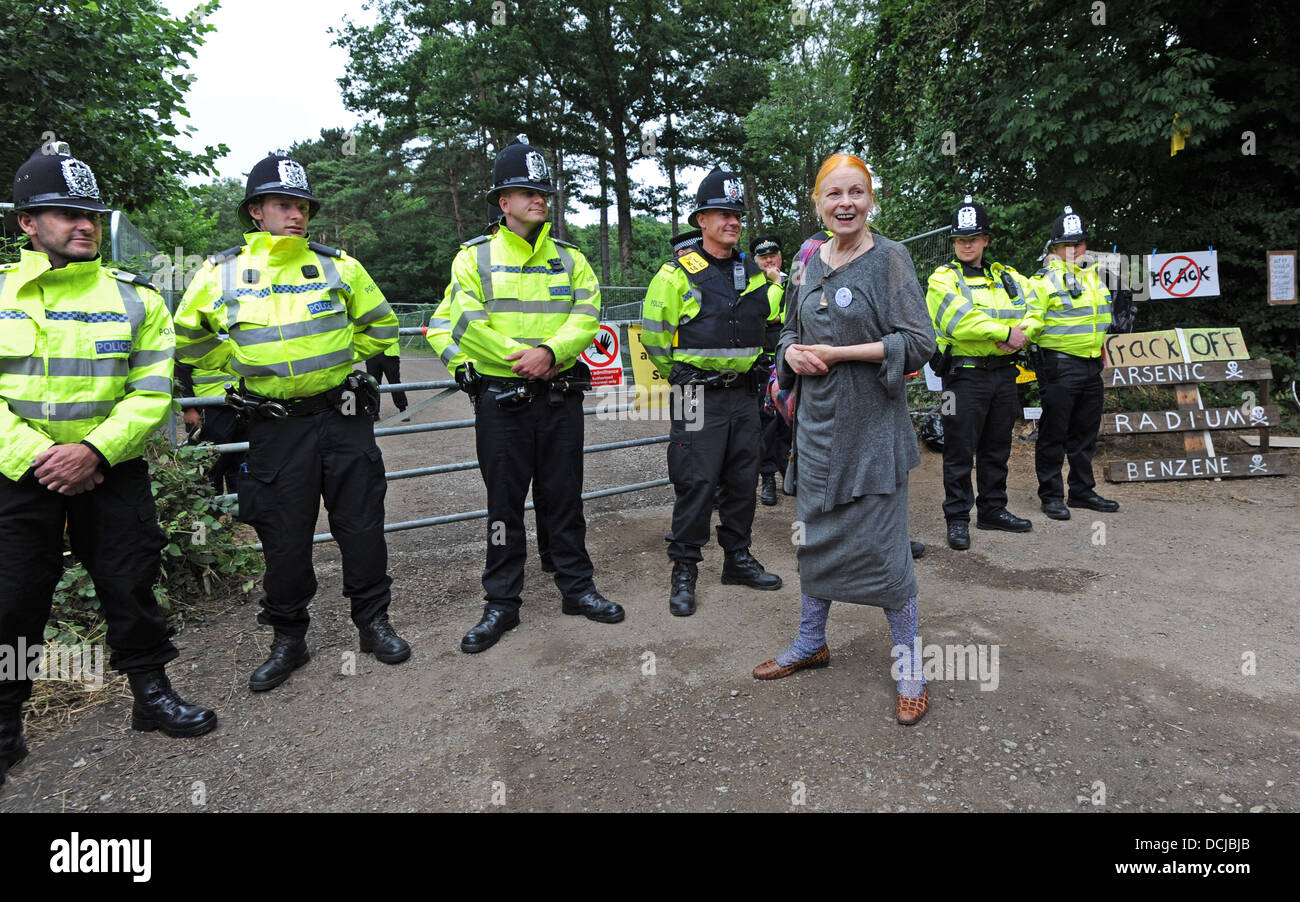 Fashion designer Dame Vivienne Westwood joins anti fracking protesters at the Cuadrilla site in Blacombe - Stock Image