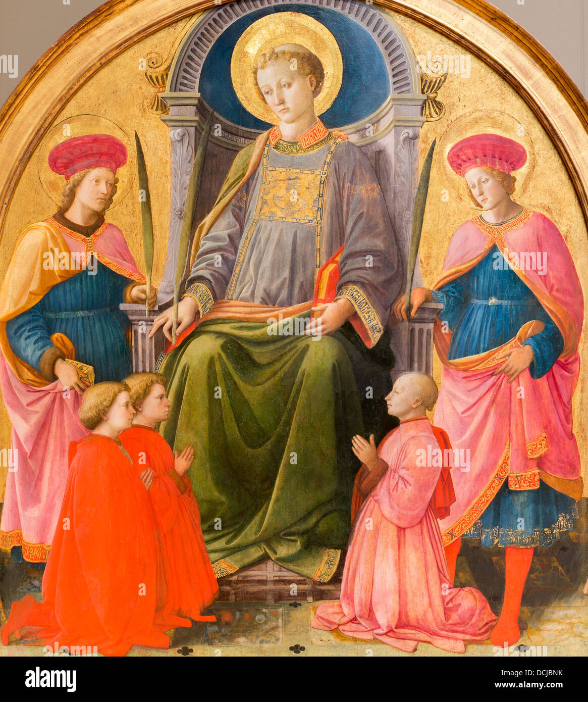 15th century  -  Saint Lawrence Enthroned with Saints and Donors, around 1440 - Fra Filippo Lippi Tempera on wood, - Stock Image