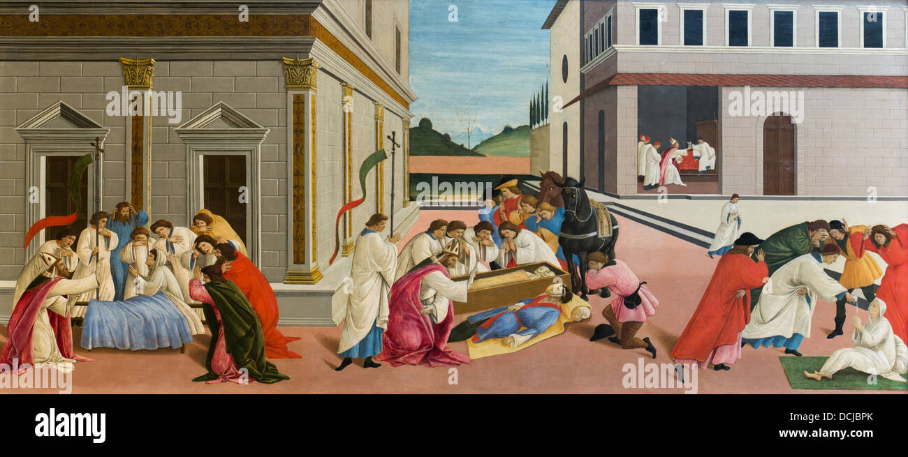 16th century  -  Three Miracles of Saint Zenobius, 1510 - Sandro Botticelli Tempera on wood - Stock Image