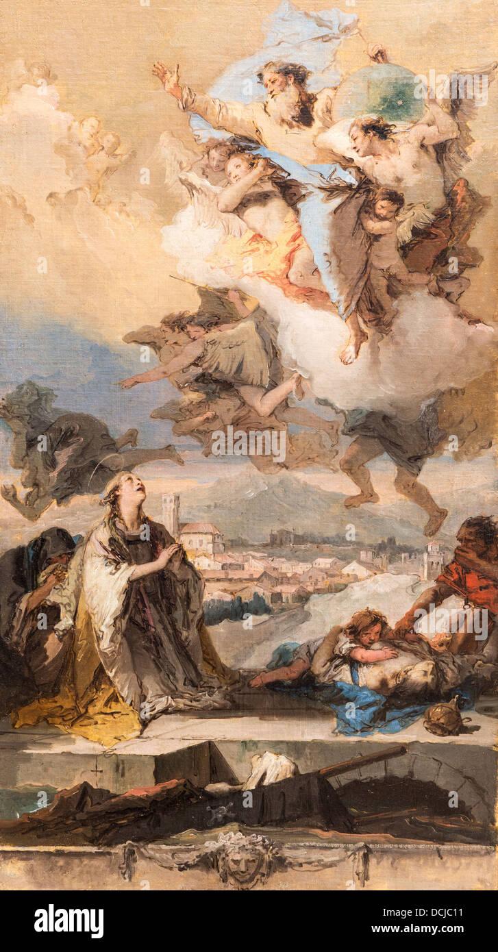 18th century  -  St Thecla Praying for the Plague-Stricken, 1758 - Giovanni Battista Tiepolo - Stock Image