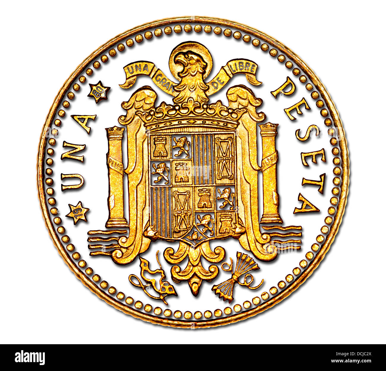 Spaish 1 peseta coin from 1975 - Stock Image