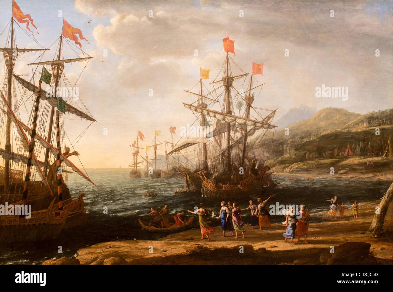 17th century  -  The Trojan Women Setting Fire to Their Fleet, 1643 - Claude Lorrain Philippe Sauvan-Magnet / Active - Stock Image
