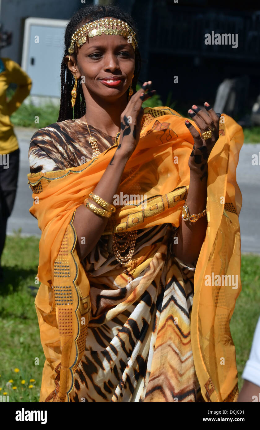 Djibouti woman dancer clapping at the International Festival of Folklore and Dance from the mountains (CIME) - Stock Image