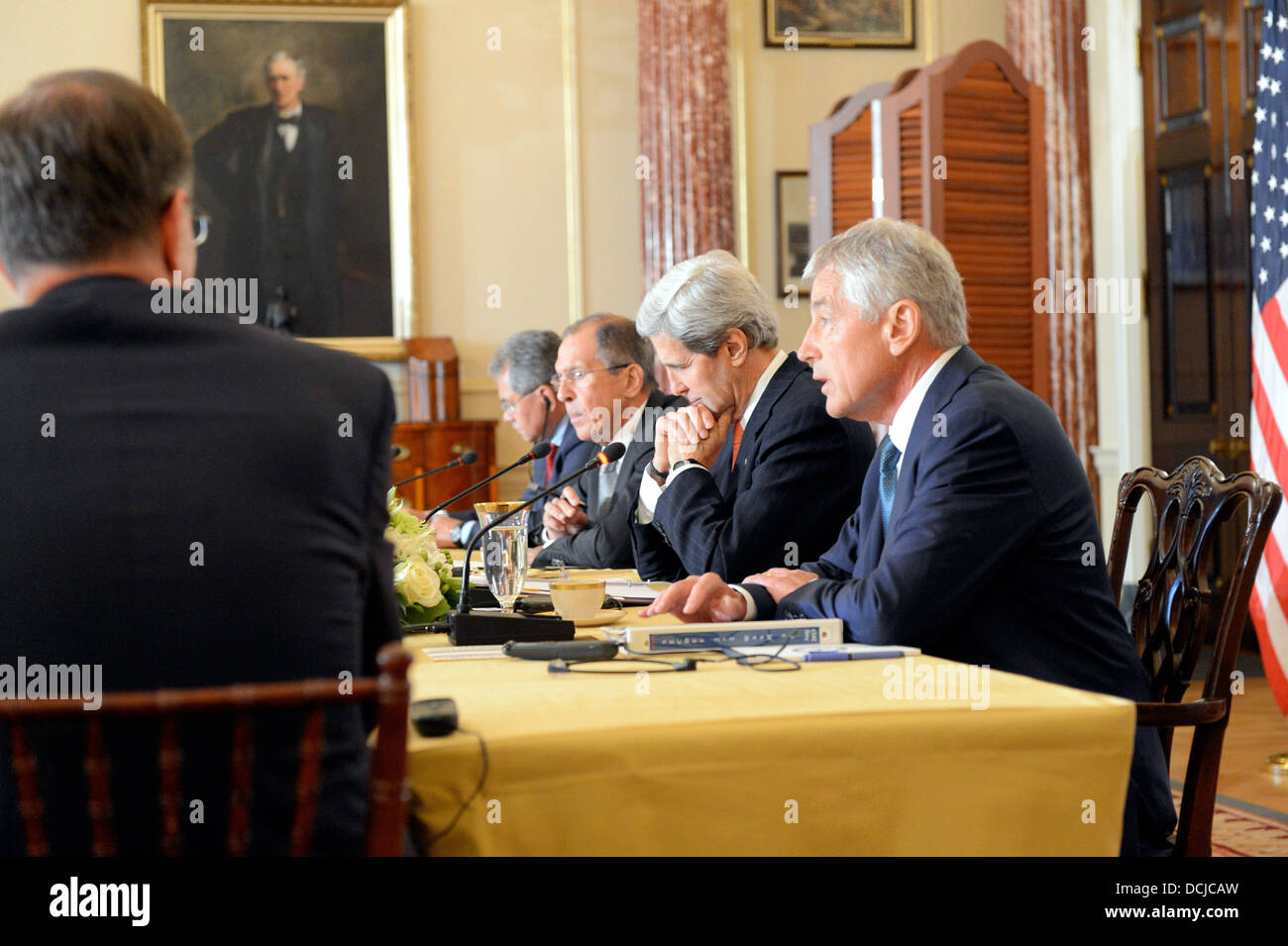 Secretaries Kerry and Hagel Meet With Russian Ministers Lavrov and Shoygu - Stock Image