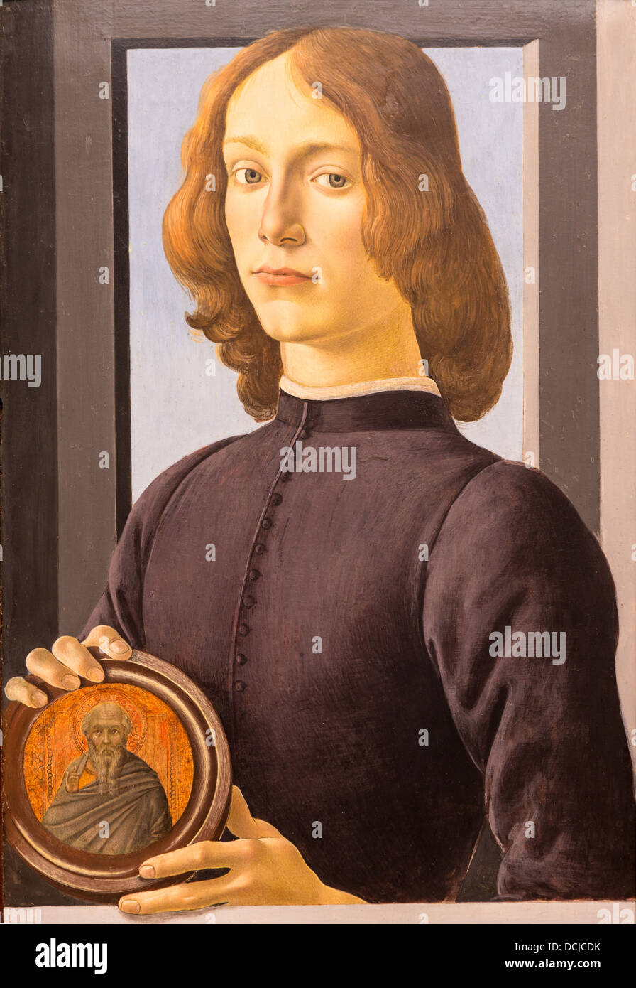 15h century  -  Portrait of a young man, 1480 - Botticelli Philippe Sauvan-Magnet / Active Museum - Stock Image