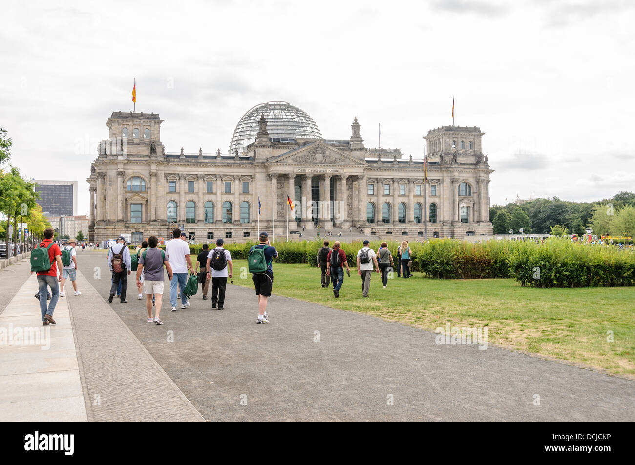 Visitors, tourists approaching the Reichastag building - Berlin Germany Stock Photo