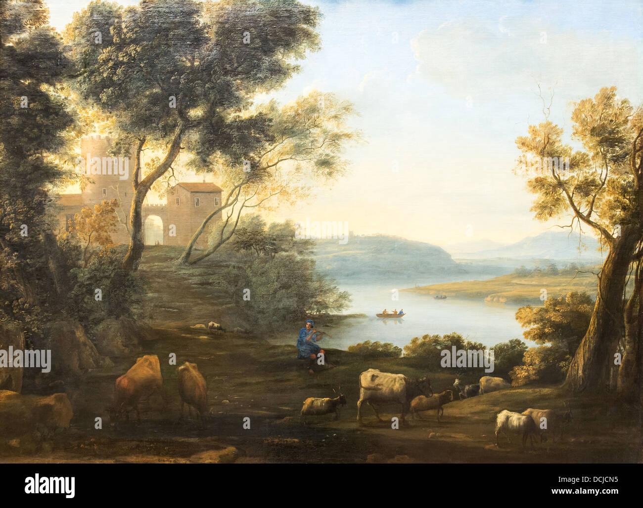 17th century  -  Pastoral Landscape : The Roman Campagna, 1639 Claude Lorrain Philippe Sauvan-Magnet / Active Museum - Stock Image