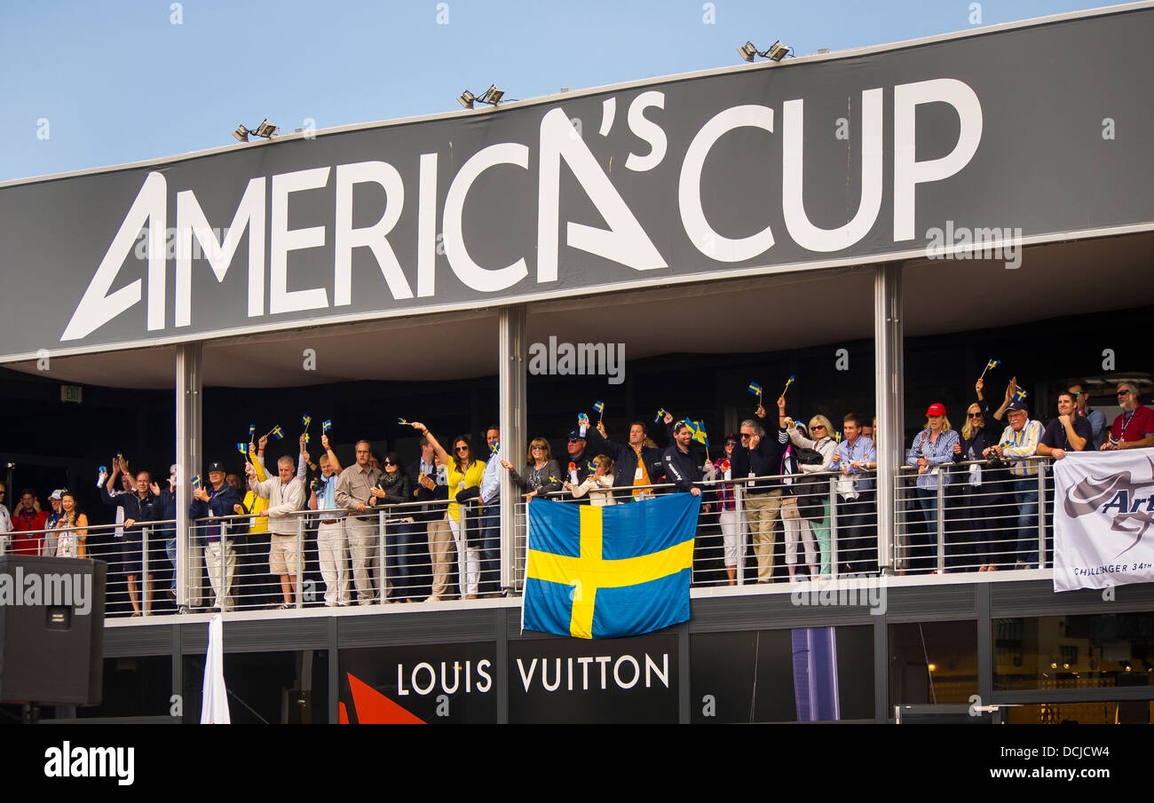 Swedish fans cheer the Artemis Racing team during the Louis Vuitton Cup in San Francisco, Calif. - Stock Image