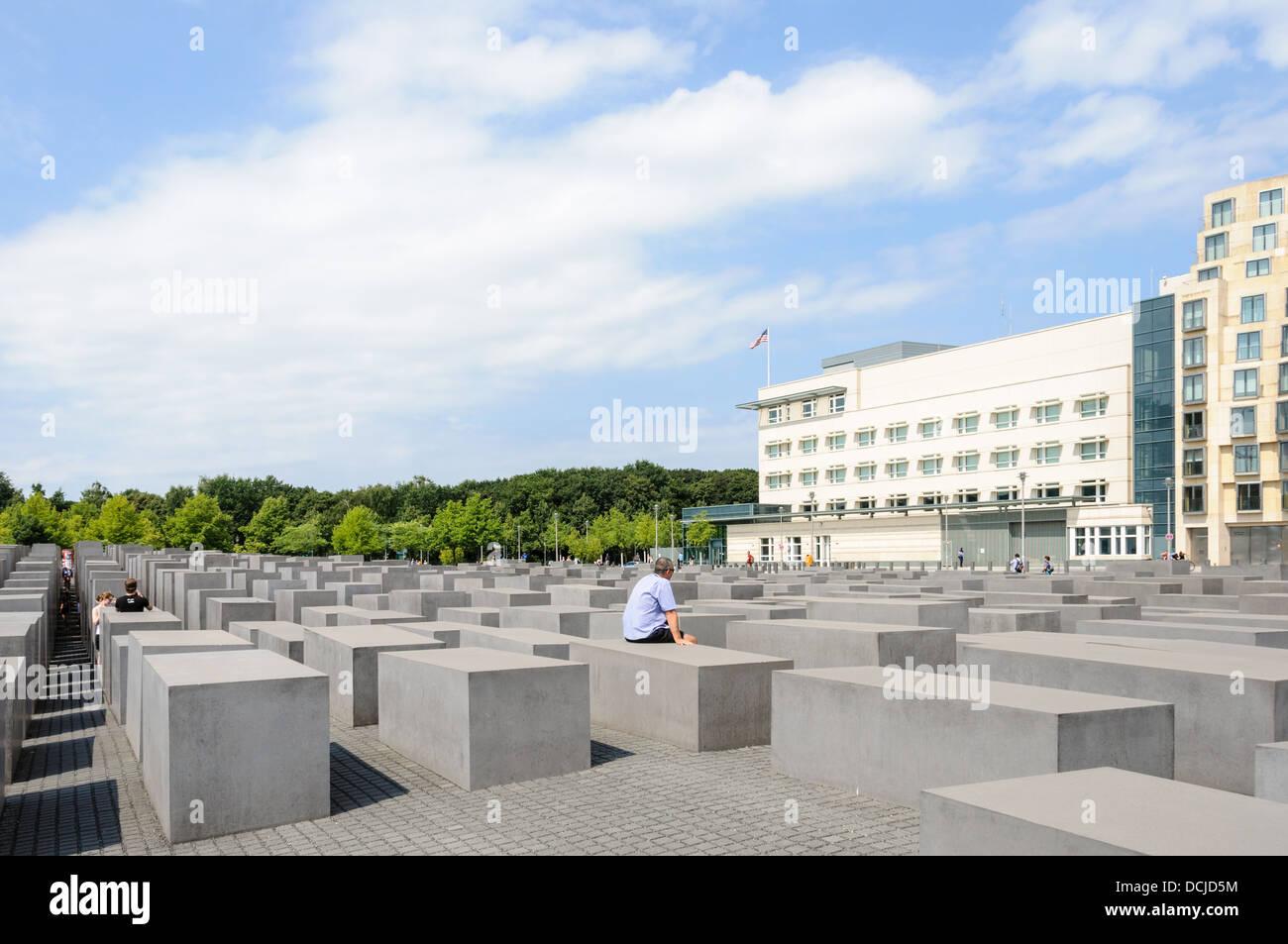 Holocaust Memorial - Memorial to the Murdered Jews of Europe - Denkmal für die ermordeten Juden Europas - Embassy Stock Photo