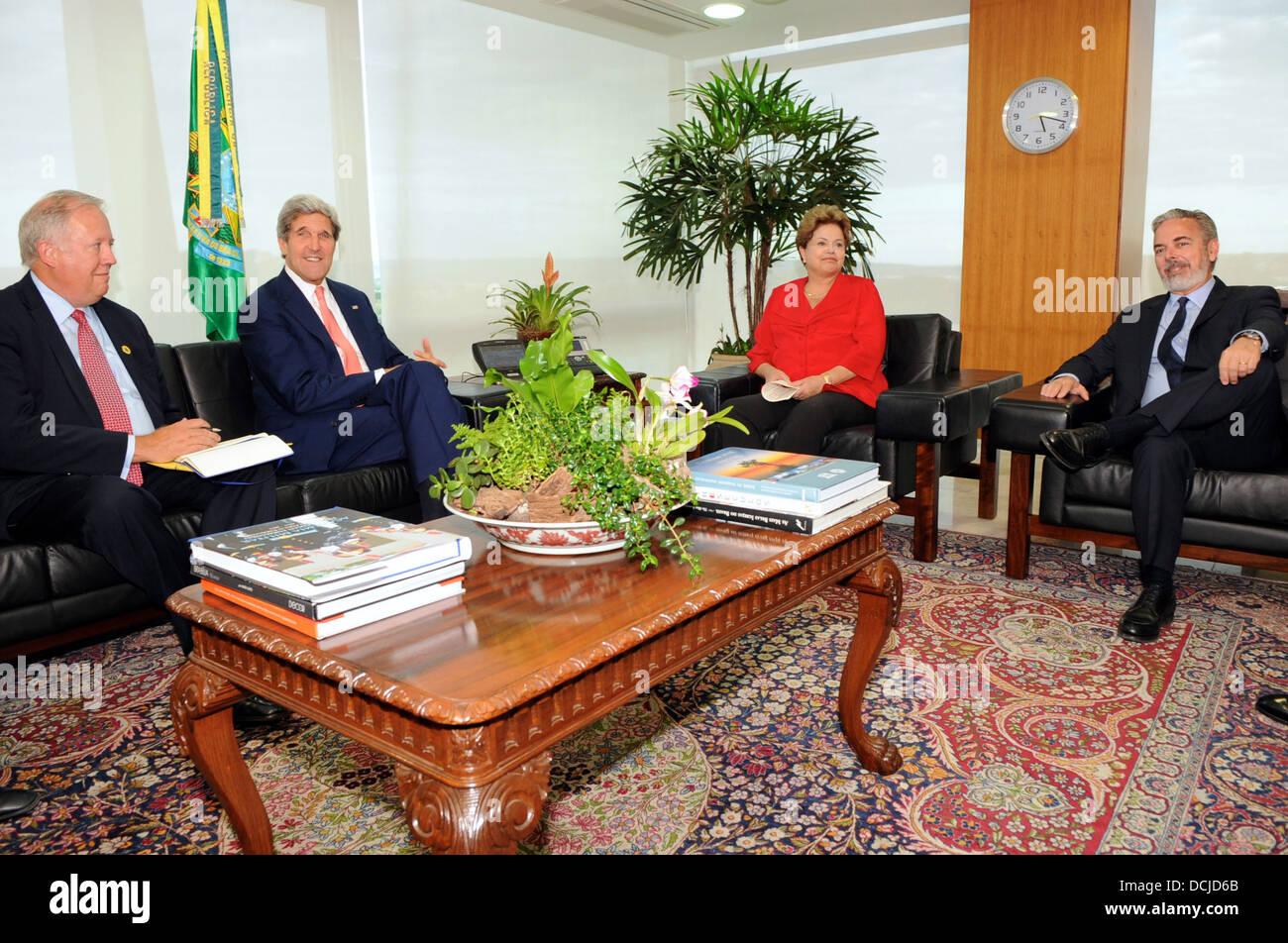 john kerry johnkerry dilma rousseff dilmarousseff thomas shannon thomasshannon antonio patriota antoniopatriota - Stock Image