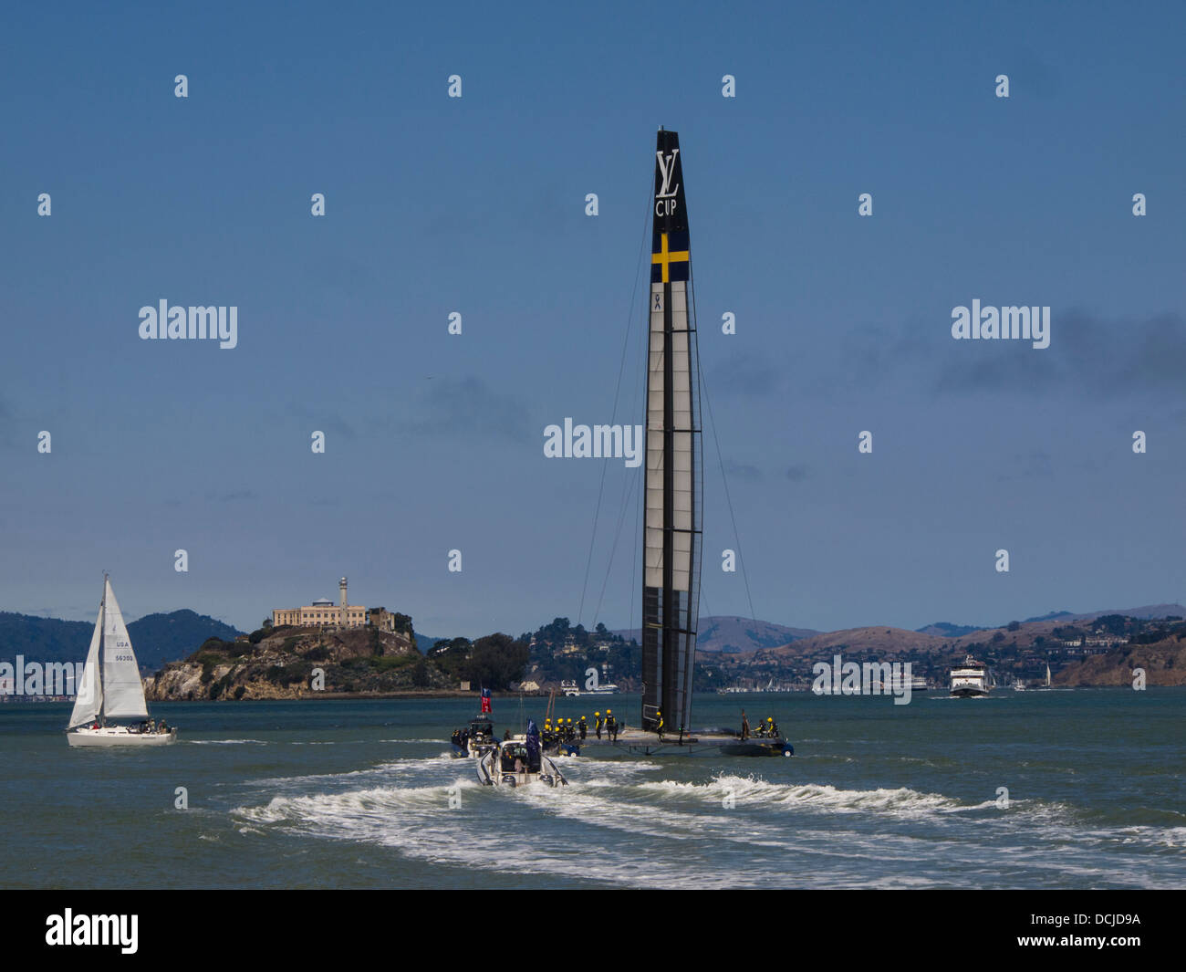 Artemis Racing sails for the start of the Louis Vuitton Cup which they ended up losing four straight races to Luna - Stock Image
