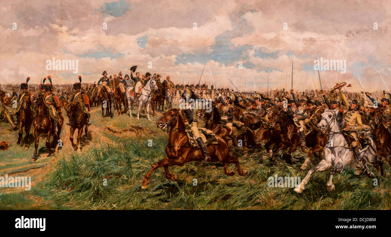 19th century  -  Napoleon Bonaparte at the Battle of Friedland, 1807 - Ernest Meissonier Philippe Sauvan-Magnet - Stock Image