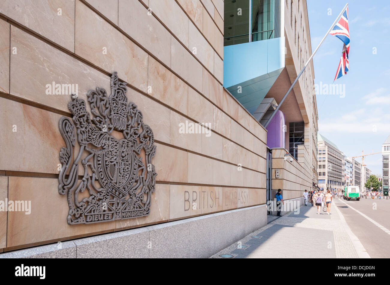 Royal Coat of Arms of the United Kingdom of Great Britain and Northern Ireland at the British Embassy - Berlin Germany Stock Photo
