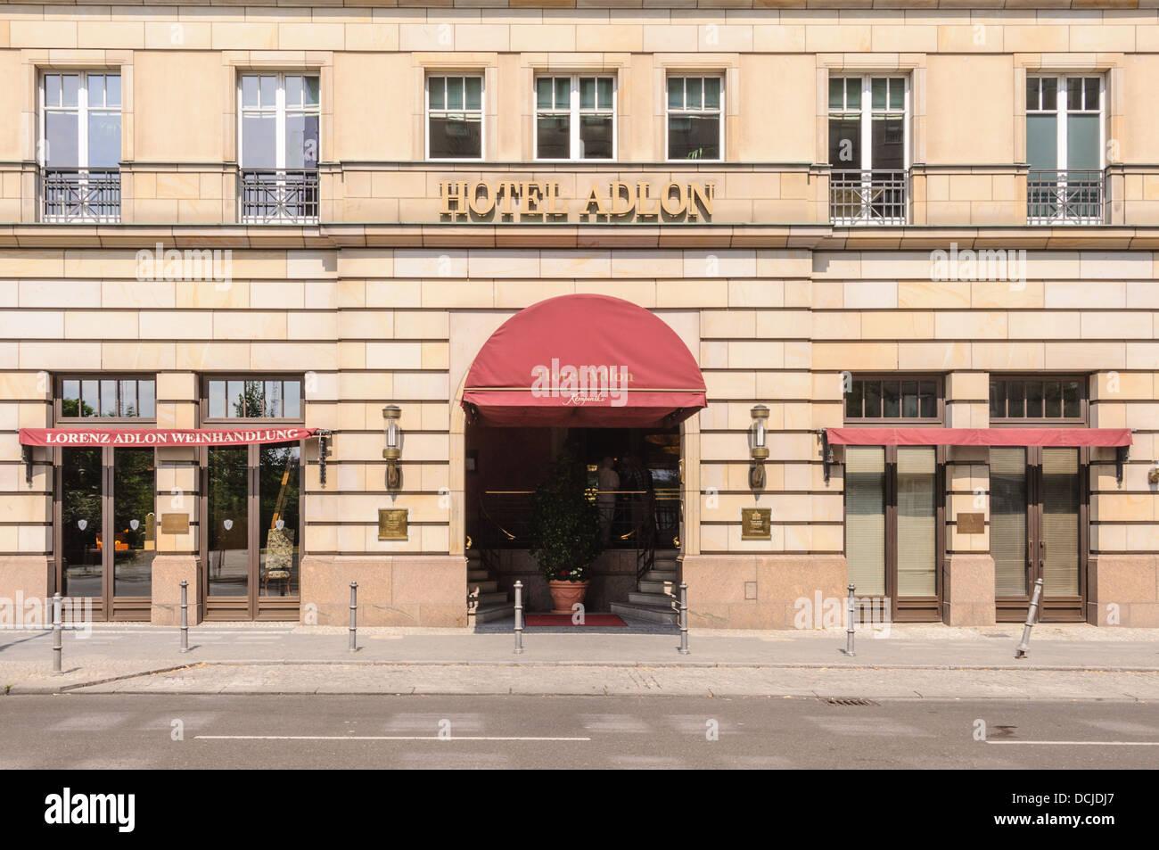 Rear entrance of the Hotel Adlon Kempinski and wine shop Lorenz Adlon Weinhandlung - Berlin Germany Stock Photo