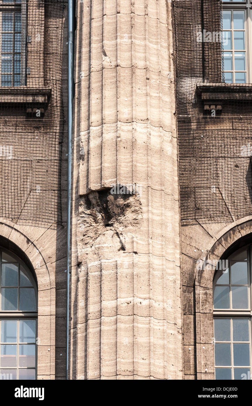 Bullet hole from artillery fire during World War II in a column of the Pergamon Museum - Museumsinsel, Museum Island, Stock Photo