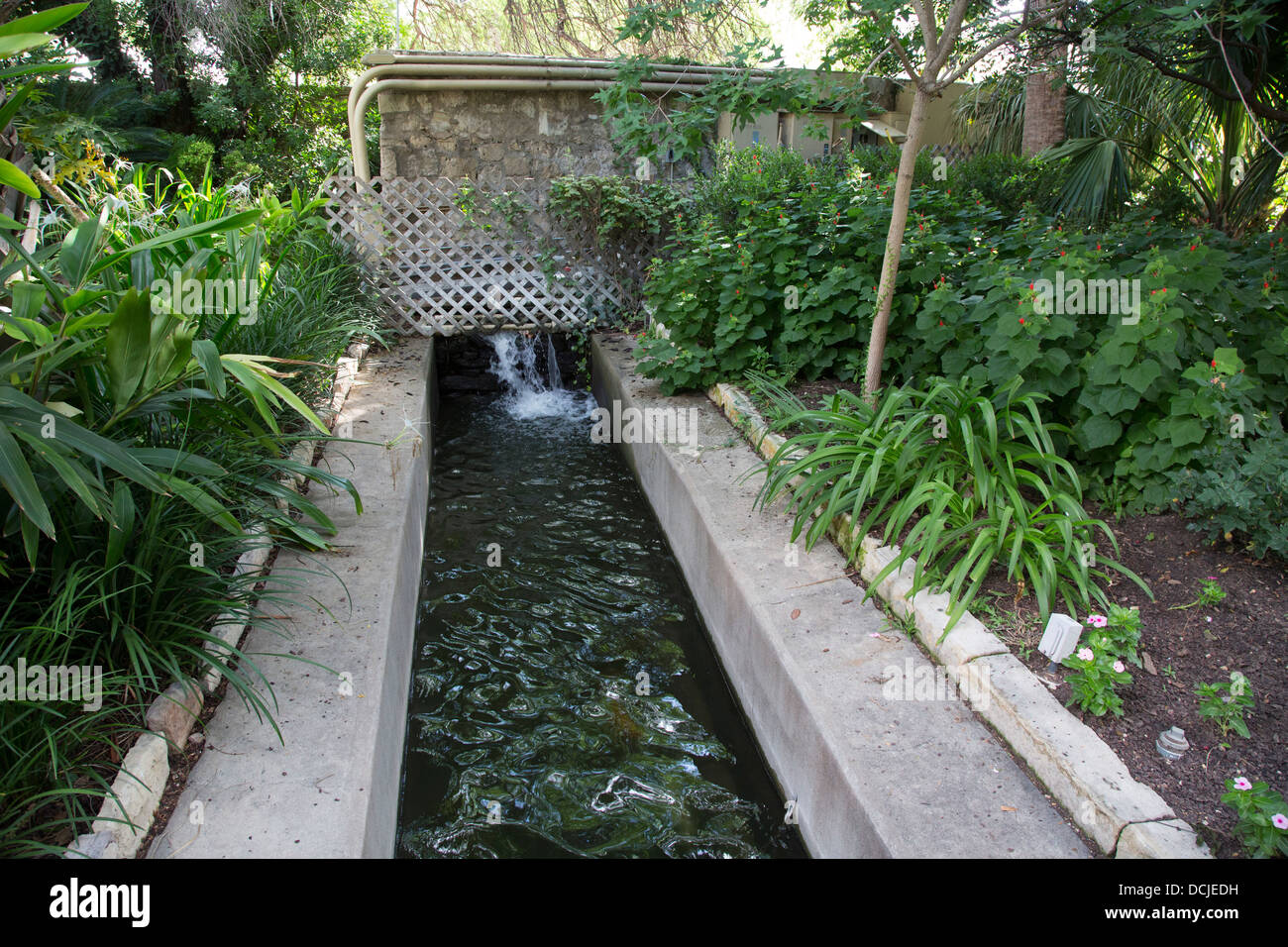 Acequia (irrigation canal) on the grounds of the Alamo - Stock Image