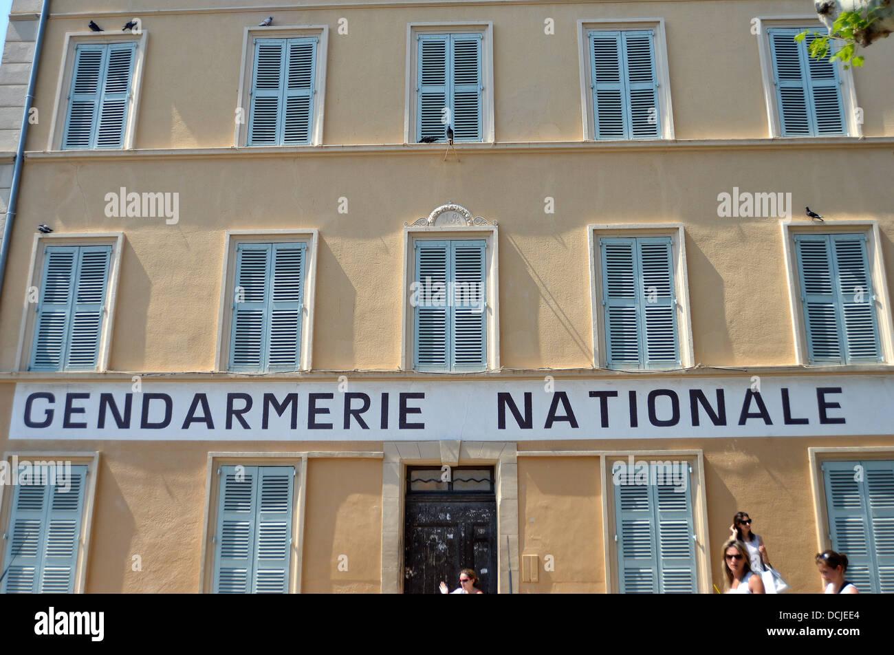 Gendarmerie Nationale building, cinema museum, Saint-Tropez, Var, Cote d'Azur , France - Stock Image