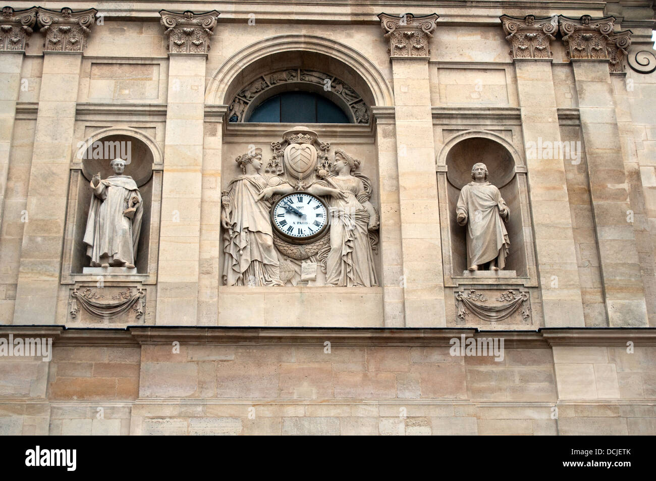Exterior detail of the buildings of the Sorbonne University, France, Paris, Western Europe. - Stock Image