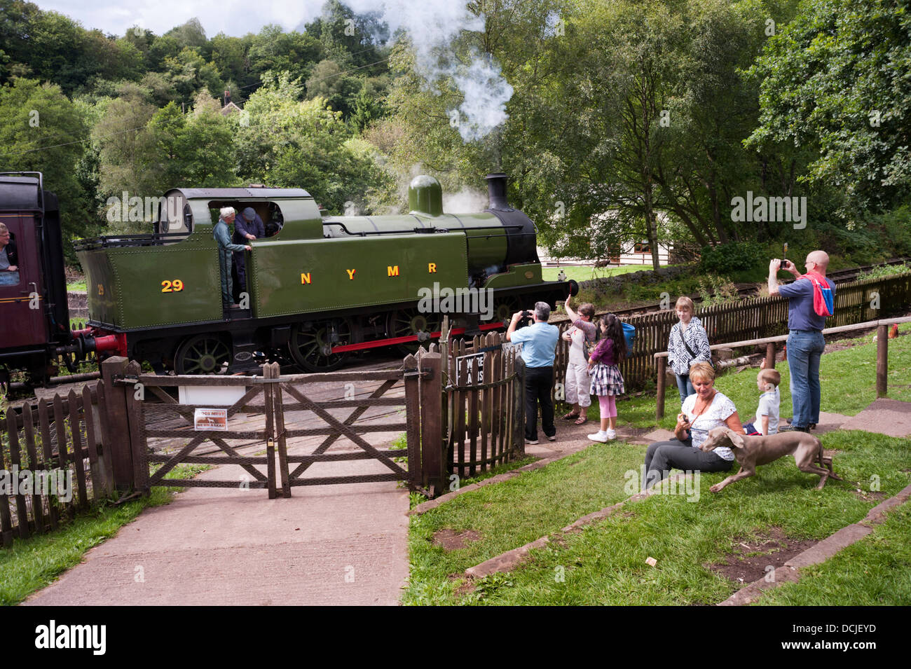 Visitors wave as a steam train passes the Black Lion PH at Consall Forge, on the Churnet Valley Railway, Leek, Staffordshire, - Stock Image