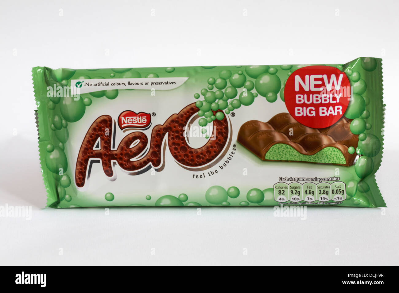 bar of Nestle Mint aero new bubbly big bar of chocolate isolated on white background - Stock Image