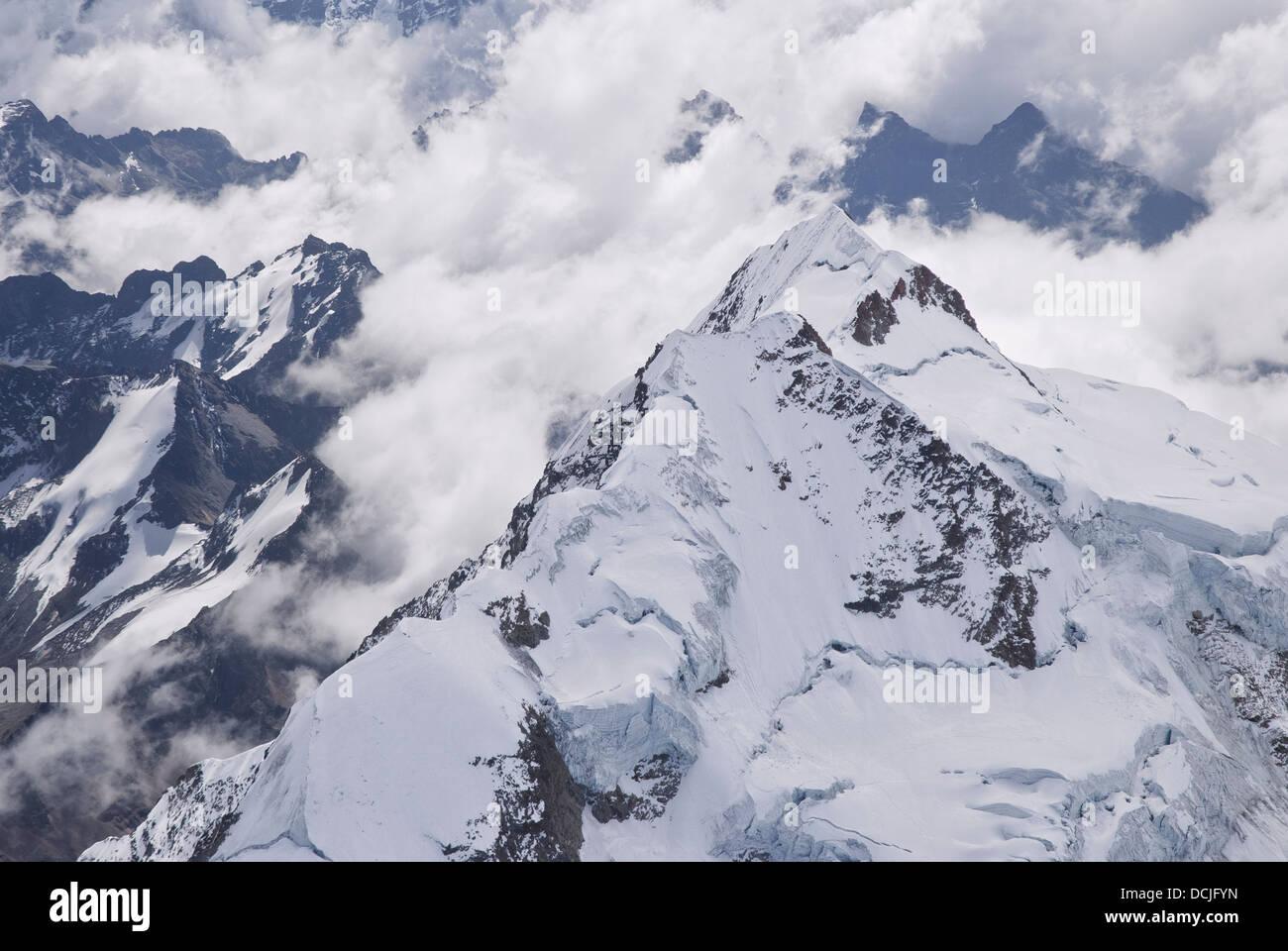 Aerial view of the mountain Huayna Potosi - Stock Image