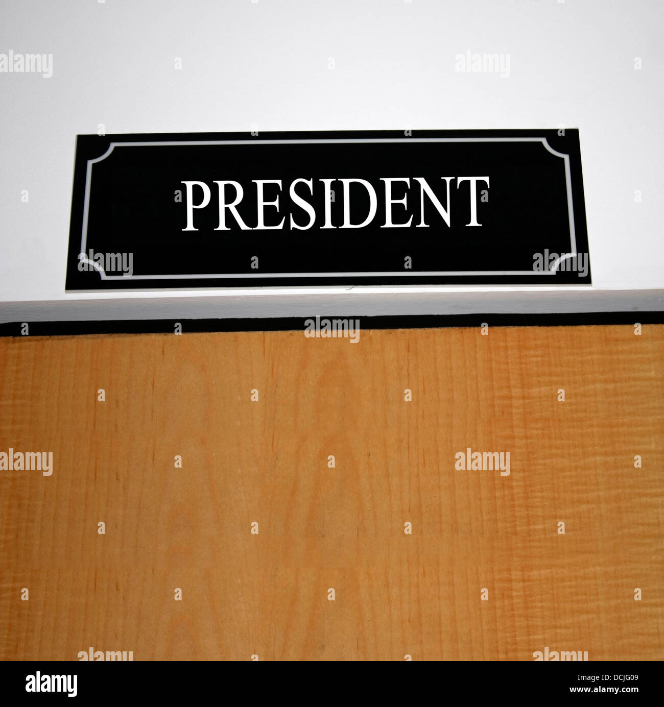 Board displayed in front of the President's room - Stock Image